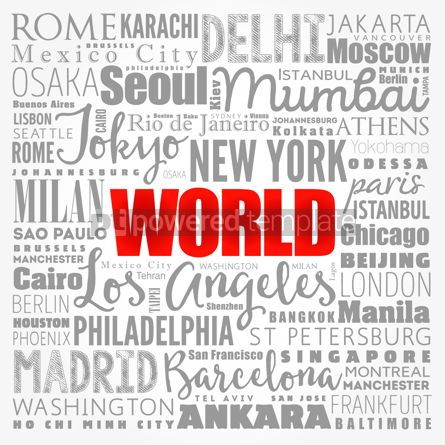 Business: WORLD word cloud concept made with words cities names business #17337