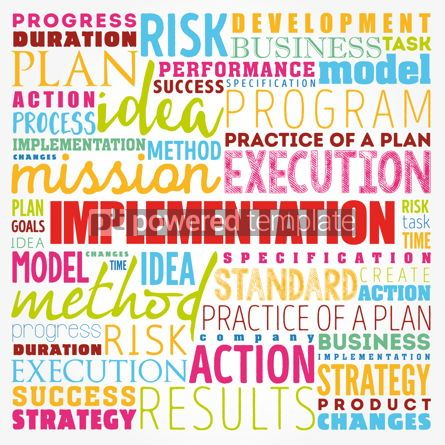 Business: Implementation word cloud collage business concept background #17351