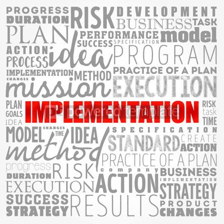 Business: Implementation word cloud collage business concept background #17373
