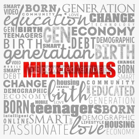 Business: Millennials Word Cloud Social Concept collage background #17374