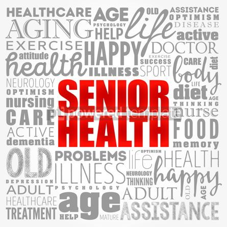 Business: Senior health word cloud collage social concept background #17383