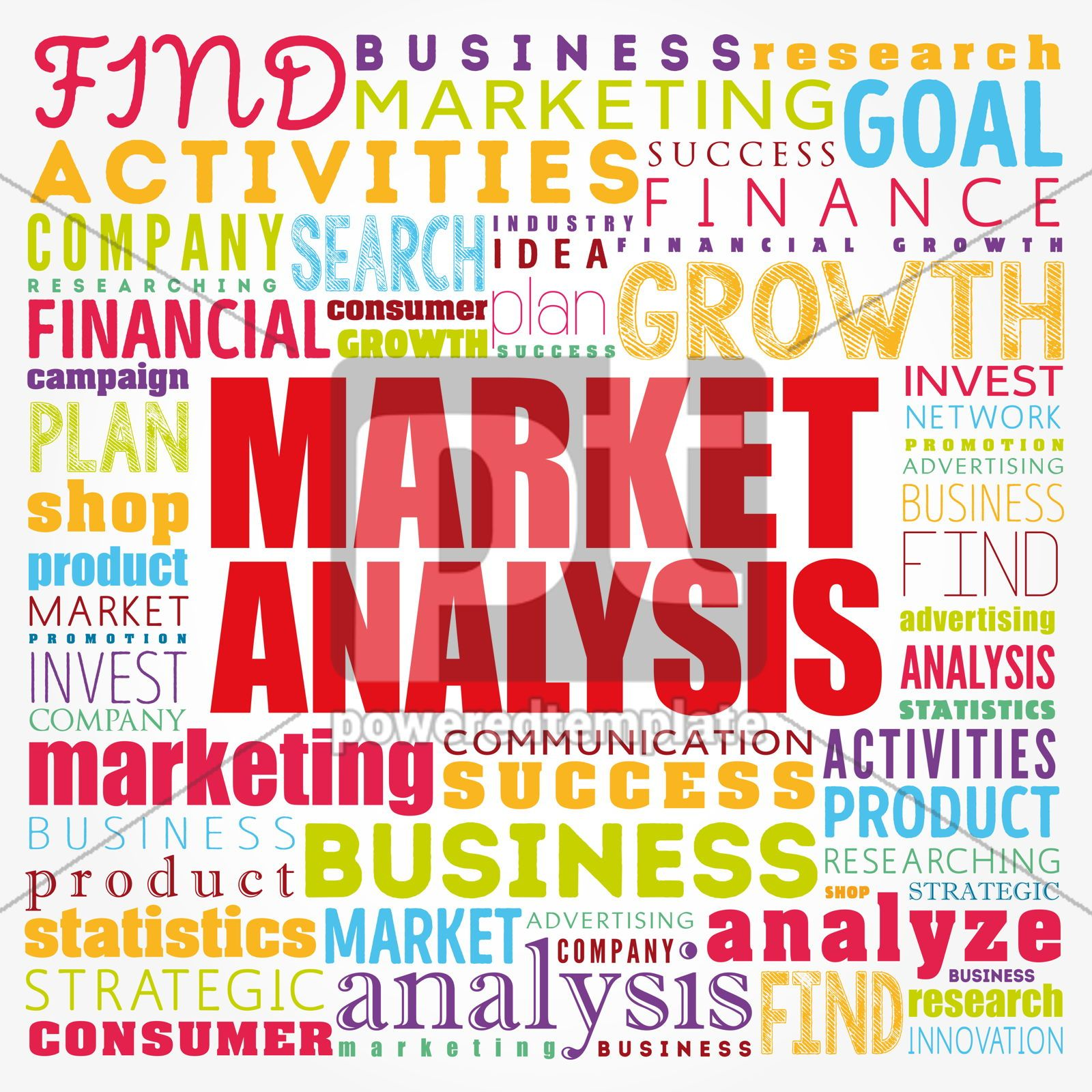 Market Analysis word cloud collage business concept background, 17412, Business — PoweredTemplate.com