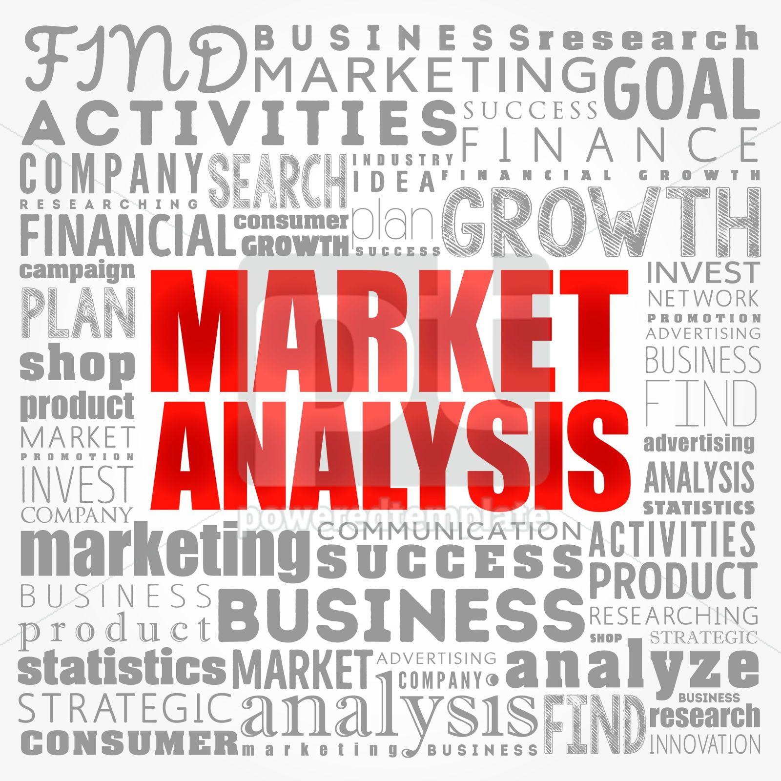 Market Analysis word cloud collage business concept background, 17423, Business — PoweredTemplate.com