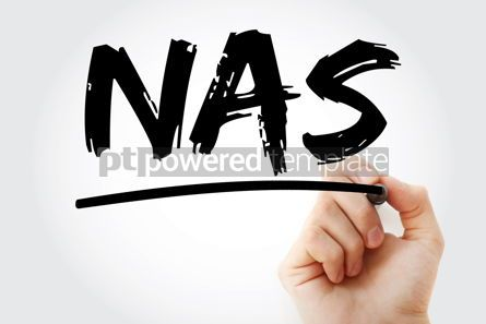 Business: NAS - Network Attached Storage acronym with marker technology c #17442
