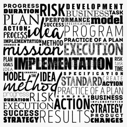 Business: Implementation word cloud collage business concept background #17486