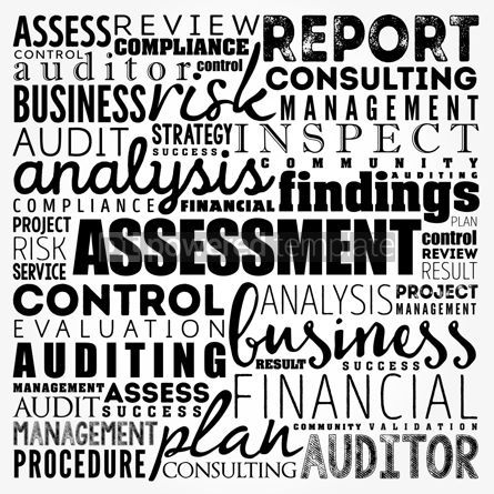 Business: ASSESSMENT word cloud collage business concept background #17488