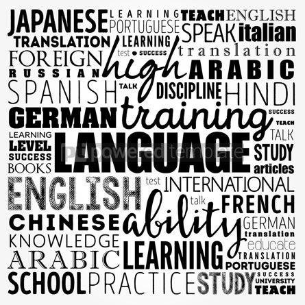 Business: Learn Language word cloud collage education concept background #17499