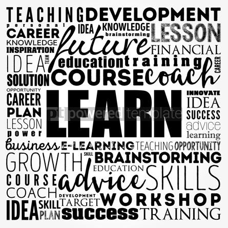 Business: LEARN word cloud collage education concept background #17504