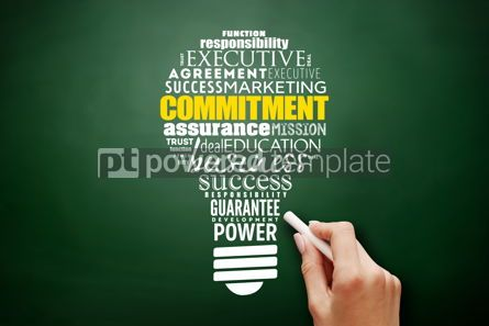 Business: Commitment light bulb word cloud collage #17516