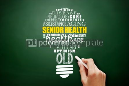 Business: Senior health light bulb word cloud collage #17519
