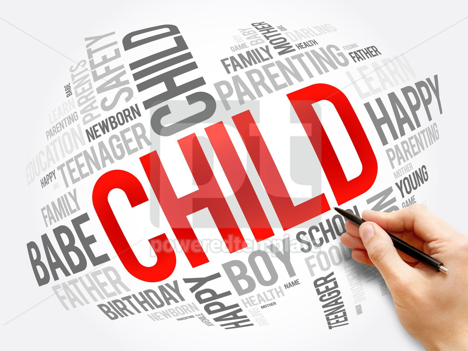 Child word cloud collage family concept, 17558, Business — PoweredTemplate.com