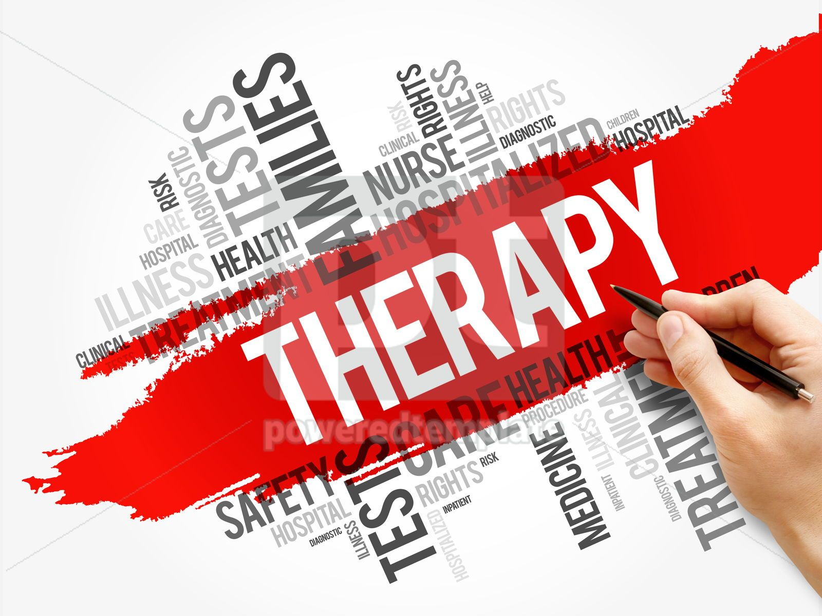 Therapy word cloud collage health concept, 17569, Business — PoweredTemplate.com