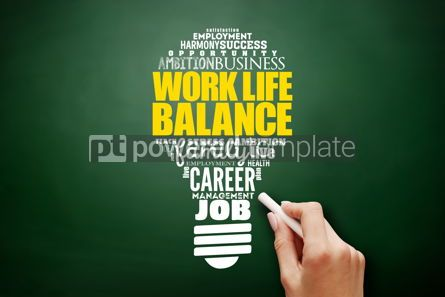 Business: Work Life Balance light bulb word cloud collage #17577