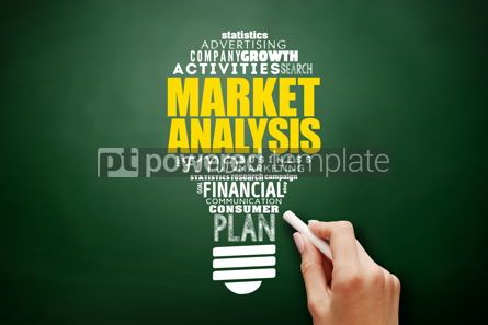 Business: Market Analysis light bulb word cloud collage #17578