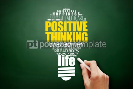 Business: Positive thinking light bulb word cloud collage #17580