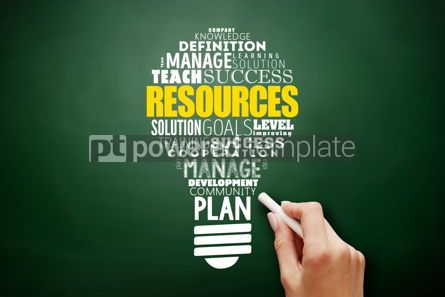 Business: RESOURCES light bulb word cloud collage #17583