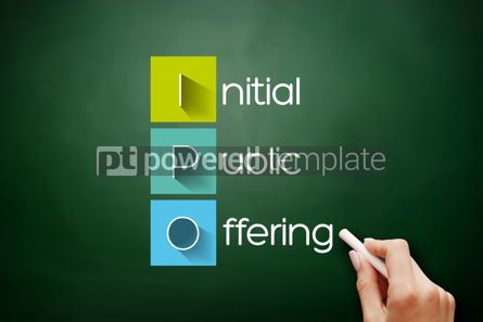 Business: IPO - Initial Public Offering acronym on blackboard #17658