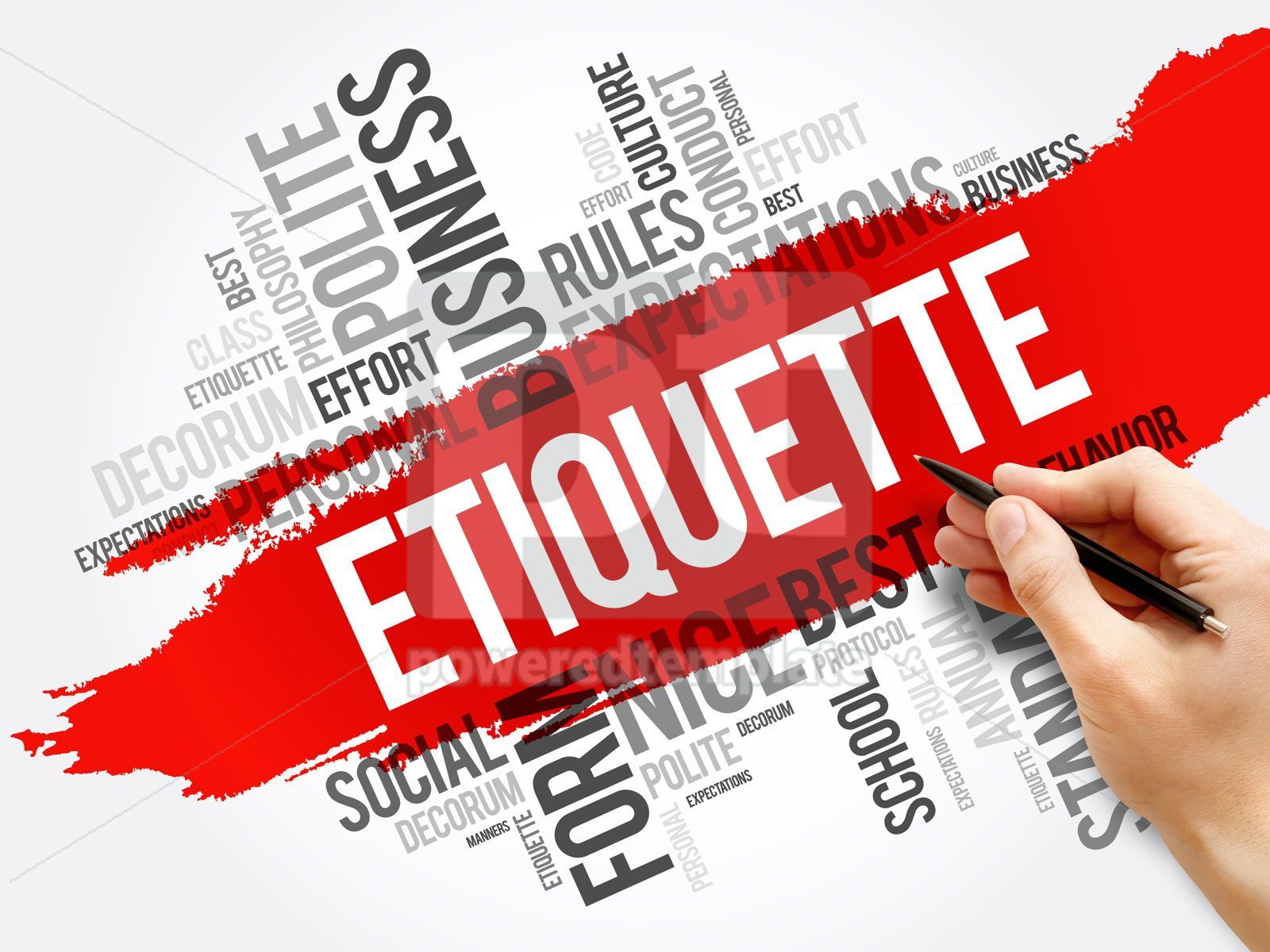 Etiquette word cloud collage social concept, 17718, Business — PoweredTemplate.com