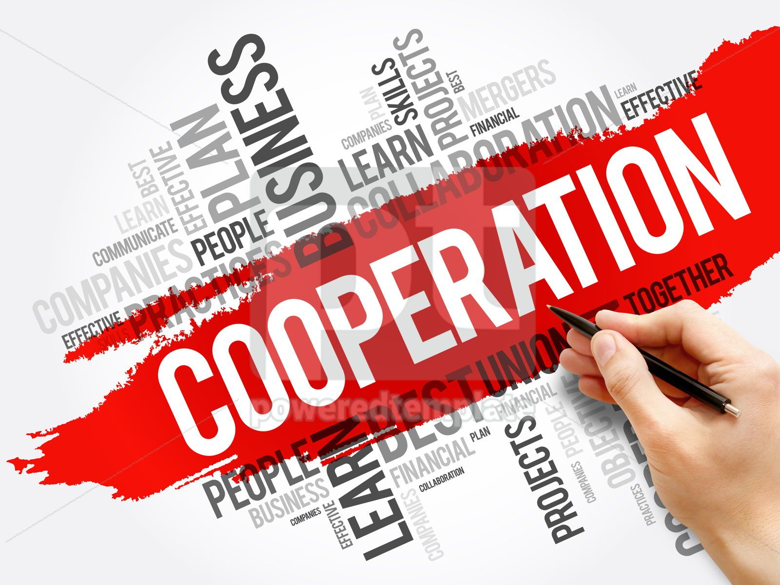 Cooperation word cloud collage business concept, 17719, Business — PoweredTemplate.com