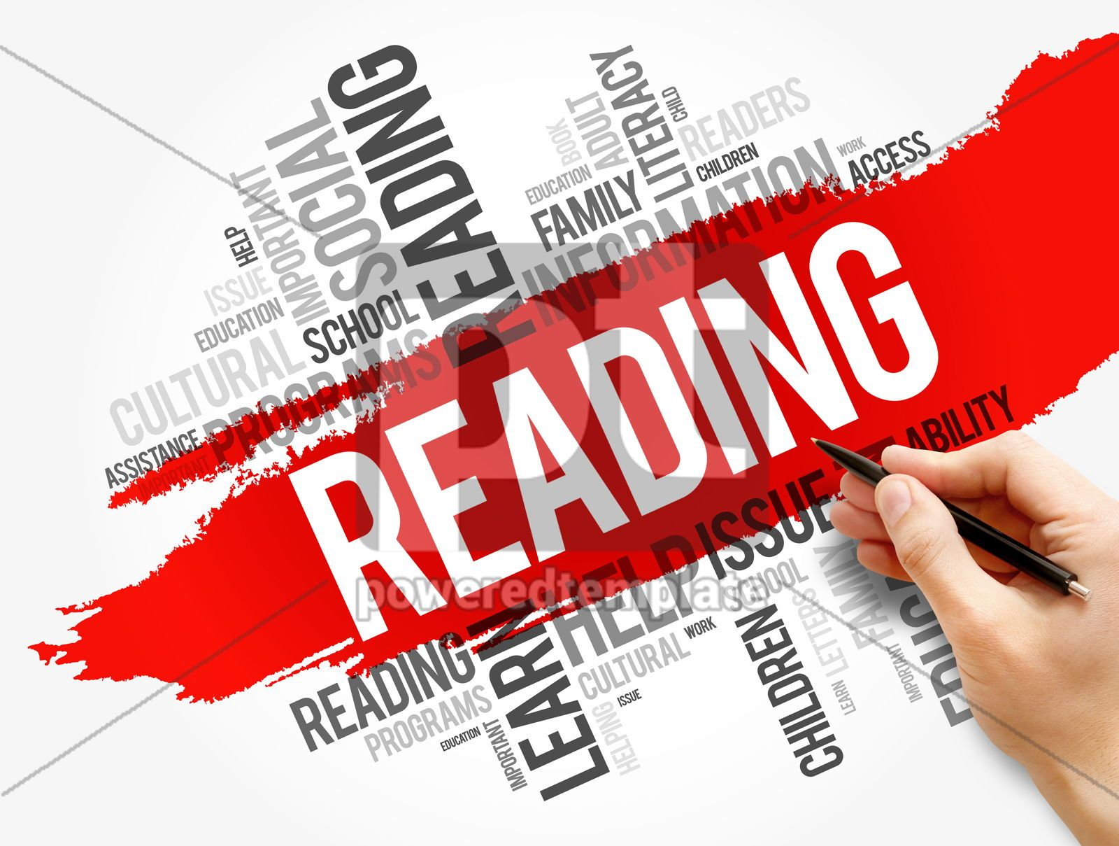 Reading word cloud collage education concept, 17735, Business — PoweredTemplate.com