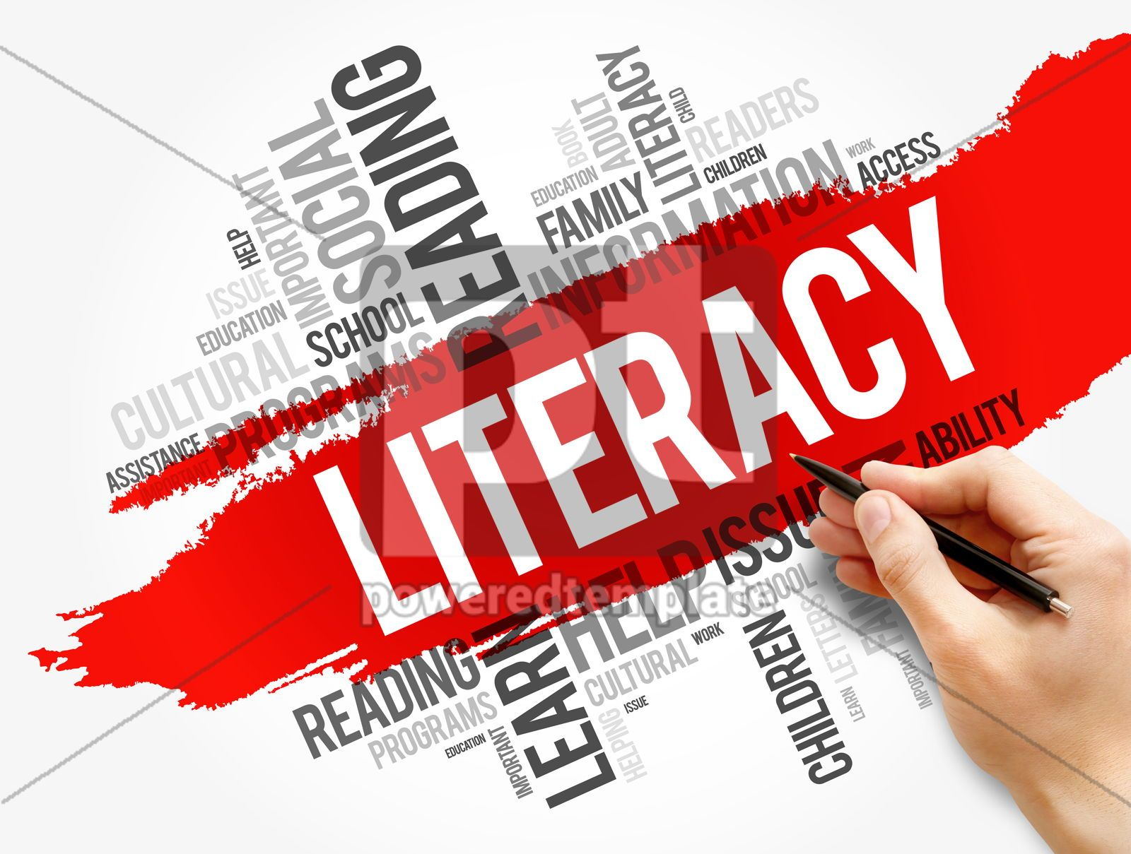 Literacy word cloud collage education concept, 17737, Business — PoweredTemplate.com