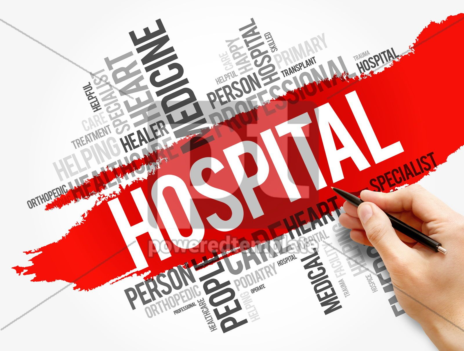 Hospital word cloud collage healthcare concept, 17738, Business — PoweredTemplate.com