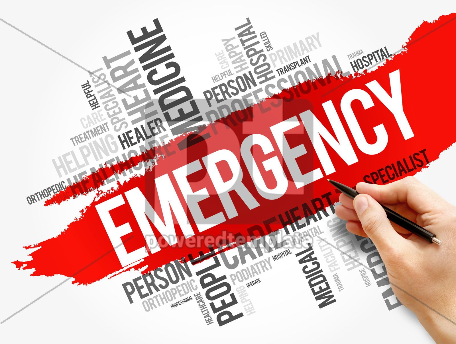 Emergency word cloud collage healthcare concept, 17739, Business — PoweredTemplate.com