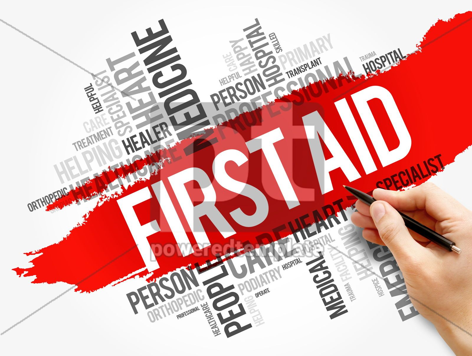 First aid word cloud collage healthcare concept, 17740, Business — PoweredTemplate.com
