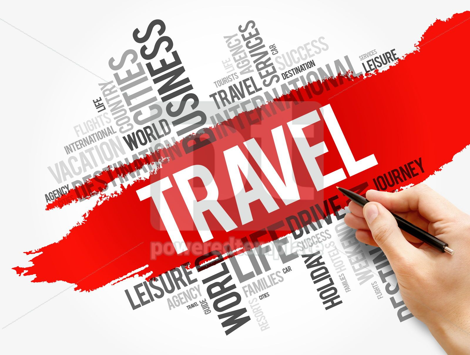 Travel word cloud collage concept background, 17749, Business — PoweredTemplate.com