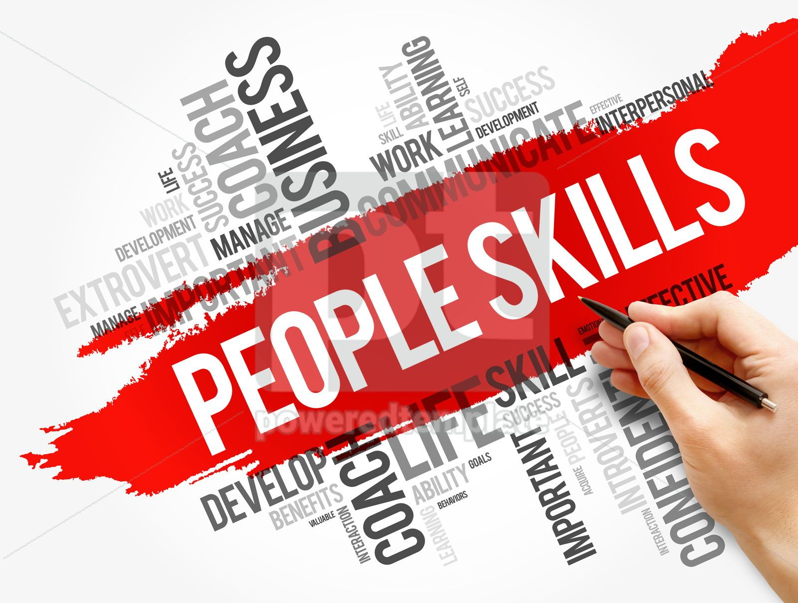 People Skills word cloud collage business concept, 17752, Business — PoweredTemplate.com