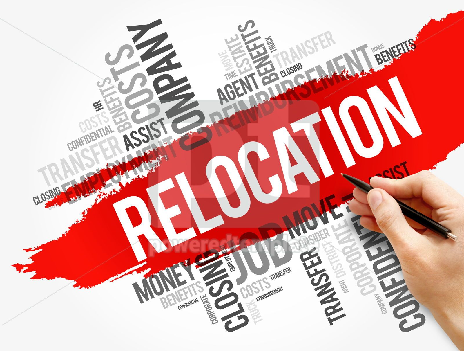 Relocation word cloud collage business concept, 17754, Business — PoweredTemplate.com