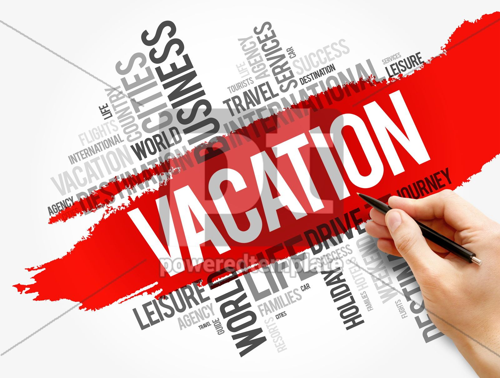 Vacation word cloud collage travel concept, 17793, Business — PoweredTemplate.com
