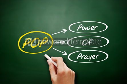 Business: POP - Power Of Prayer acronym concept on blackboard #17949