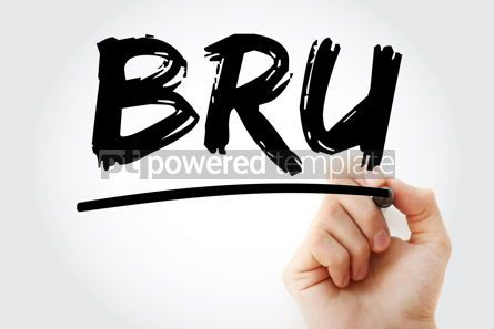 Business: BRU - Business Recovery Unit acronym with marker business conce #18084