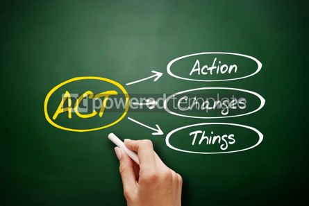 Business: ACT - Action Changes Things acronym on blackboard #18153