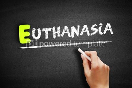 Business: Hand writing Euthanasia on blackboard concept background #18180