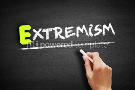 Business: Hand writing Extremism on blackboard concept background #18184