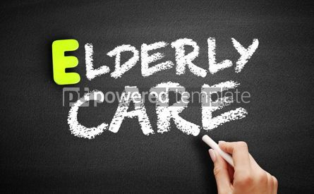 Business: Hand writing Elderly care on blackboard concept background #18198