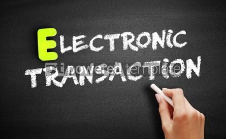 Business: Hand writing Electronic transaction on blackboard concept backg #18202