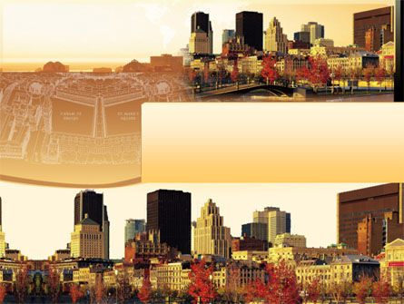 Megalopolis In Brown Colors PowerPoint Template, 00015, Global — PoweredTemplate.com