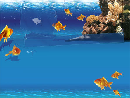 Blue Waters with Fish PowerPoint Template, 00024, Animals and Pets — PoweredTemplate.com