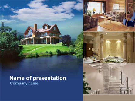 Real Estate: Cottage at the Lake PowerPoint Template #00031