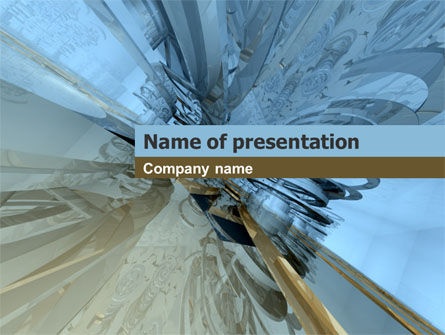Abstract/Textures: 3D Blue & Gray PowerPoint Template #00035