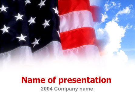 American Flag PowerPoint Template, 00051, America — PoweredTemplate.com