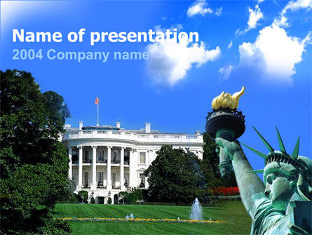 White House Free PowerPoint Template, 00054, America — PoweredTemplate.com