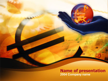 Yellow Colored Euro Currency PowerPoint Template