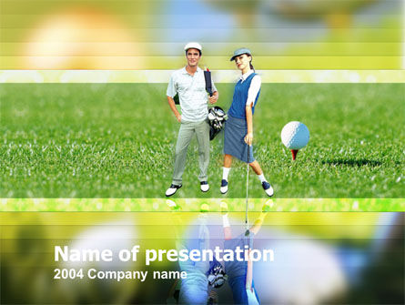 Couple of Golfers PowerPoint Template, 00087, Sports — PoweredTemplate.com