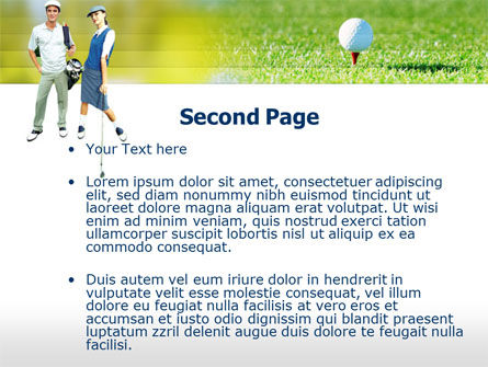 Couple of Golfers PowerPoint Template, Slide 2, 00087, Sports — PoweredTemplate.com