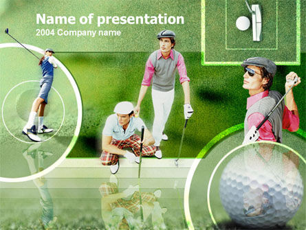 Sports: Golfers On The Field PowerPoint Template #00088