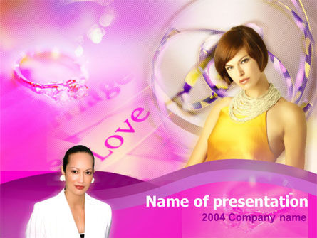 Art & Entertainment: Women and Diamonds Free PowerPoint Template #00090